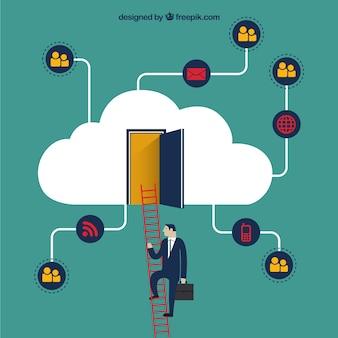 Hombre de negocios en una nube
