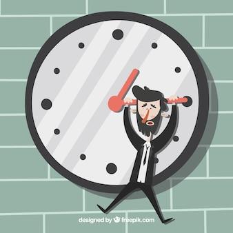 Hombre de negocios estresado colgando de un reloj