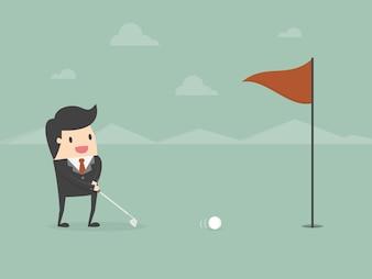Hombre de negocios jugando al golf