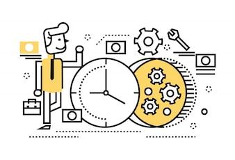Hombre de negocios la reparación del reloj, el concepto de gestión del tiempo, la reconstrucción, ocupado. elementos de diseño de líneas delgadas planas. ilustración vectorial