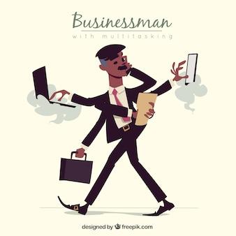 Hombre de negocios ocupado con multitareas