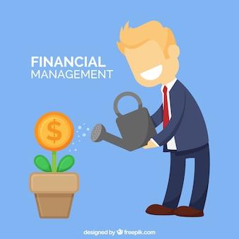 Hombre de negocios sonriente regando el dinero