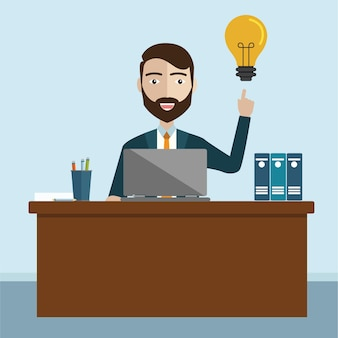 Hombre de negocios tener idea, Una idea de la innovación de empleado ilustración vectorial