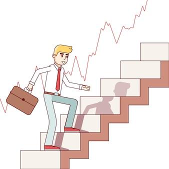 Hombre de negocios y comerciante de acciones caminando hacia arriba