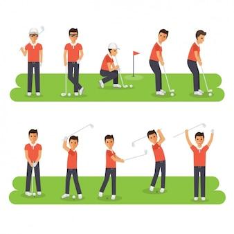 Hombre en diferentes posturas del golf