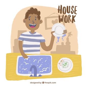 Hombre fregando los platos dibujado a mano