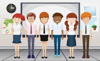 Hombre, mujer, posición, sala de clase, Ilustración