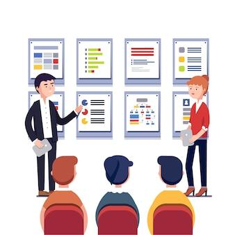 Hombre, mujer, presentación, sus, proyecto, empresa
