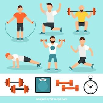 Hombres activos haciendo diferentes ejercicios físicos