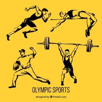 Hombres realistas dibujados a mano haciendo deporte