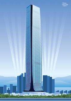 Hong kong vector construcción de rascacielos