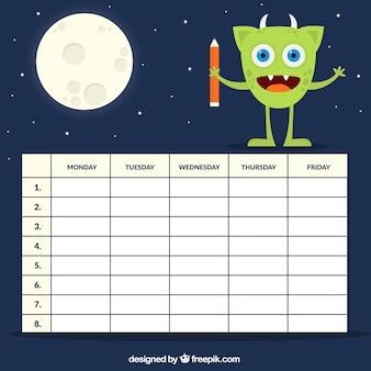 Horario con un extraterrestre y luna