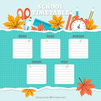 Horario del colegio con accesorios y hojas