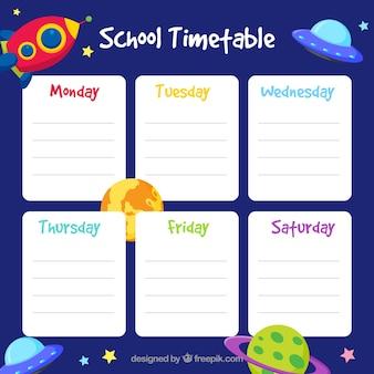 Horario escolar con elementos del espacio