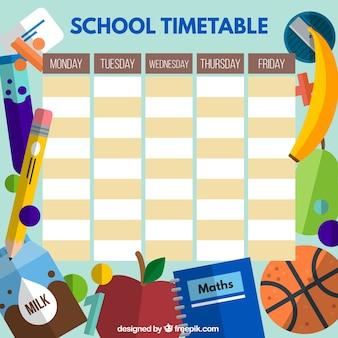 Horario escolar con elementos planos estudiantiles