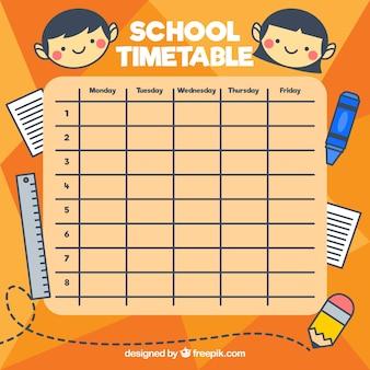 Horario escolar con elementos y niños