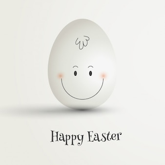 Huevo de Pascua con cara feliz dibujada a mano