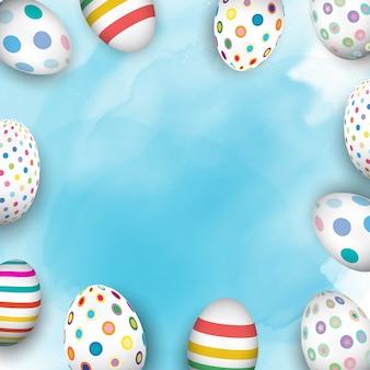 Huevos de pascua coloridos sobre un fondo de acuarela