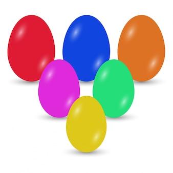 Huevos de pascua con diferentes colores