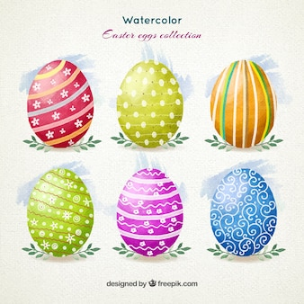 Huevos de Pascua de la acuarela ornamentales