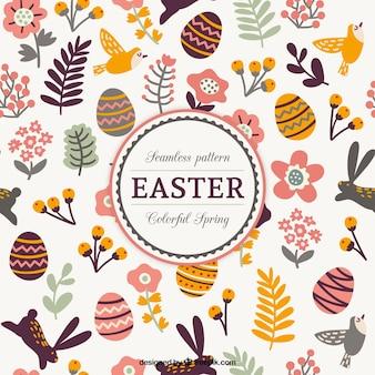 Huevos de Pascua dibujados a mano y hojas lindo patrón