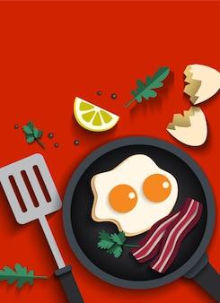 Huevos fritos y beicon cocinandose
