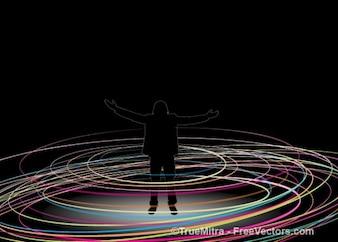 Humano con círculos de colores
