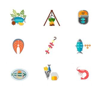 Icono de comida de pescado conjunto