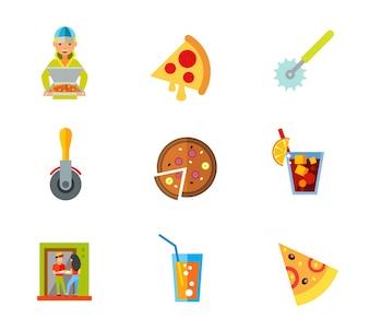Icono de pizza conjunto