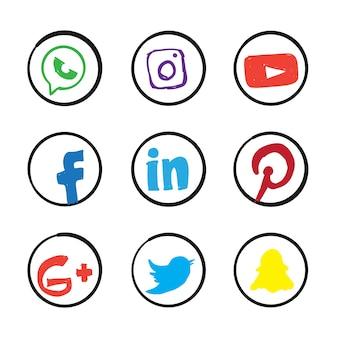 Icono de redes sociales dibujados a mano