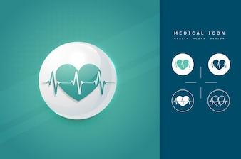 Icono médico de latidos de corazón