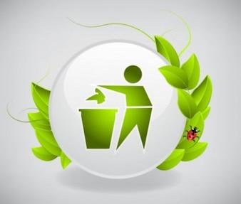 Icono verde de reciclaje vector