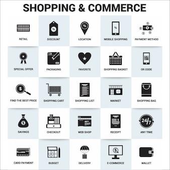 Iconos acerca de compras y comercio