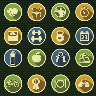 Iconos acerca de la gimnasia