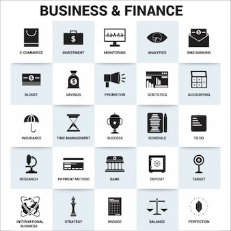 Iconos acerca de los negocios y las finanzas