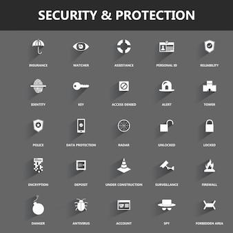 Iconos acerca de seguridad y protección