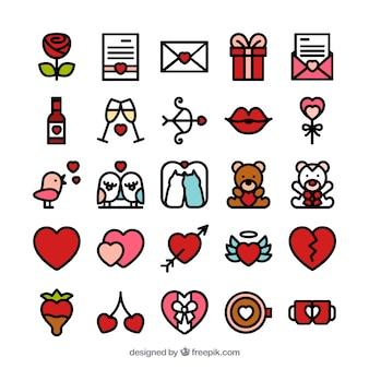 Iconos adorables de San Valentín