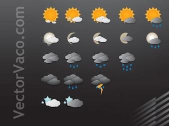 Iconos básicos del tiempo empacar libres del vector negro oscuro dom nubes de tormenta de lluvia