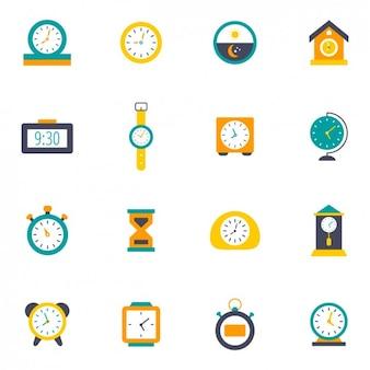 Iconos coloridos de relojes