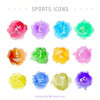Iconos de acuarela de deporte