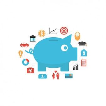 Iconos de ahorro de dinero