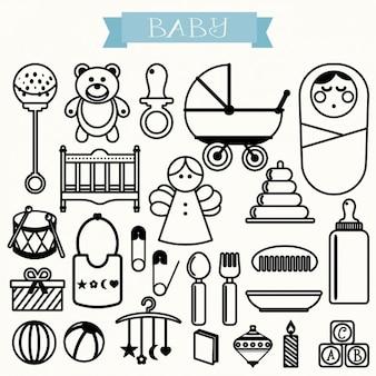 Iconos de bebé delineados