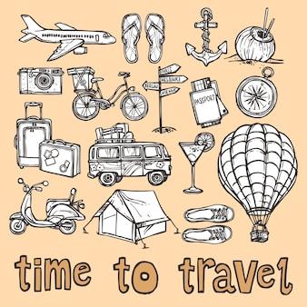 Iconos de boceto de viajes conjunto
