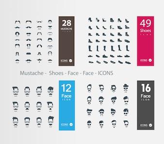 Iconos de caras y zapatos