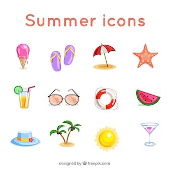 Iconos de colores de verano