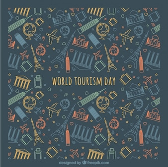 Iconos de colores sobre fondo oscuro para el día mundial del turismo