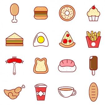 Iconos de comida a color