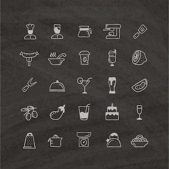 Iconos de comida sobre un fondo negro