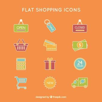 Iconos de compras de colores planos