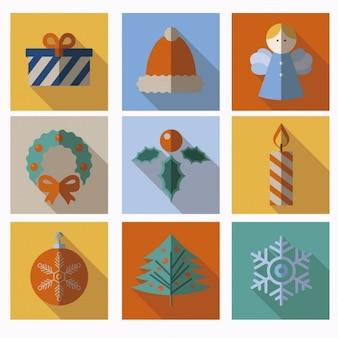 Iconos de decoración de Navidad en diseño plano